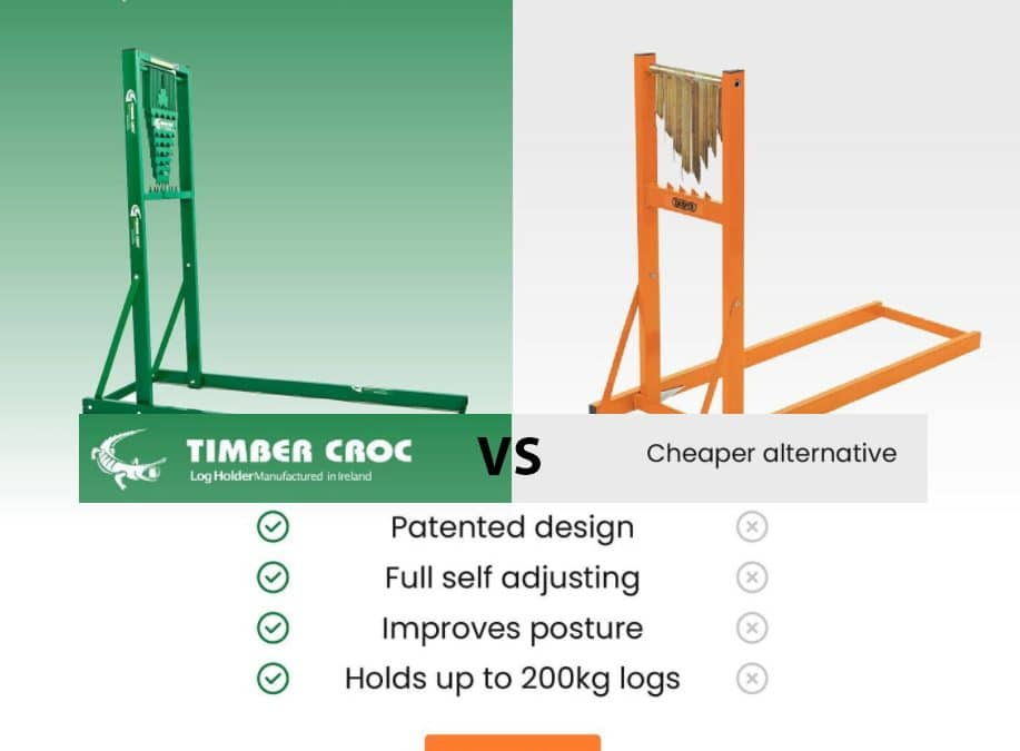 Timber Croc Chainsaw Stand/Log holder for cutting in action vs competitors